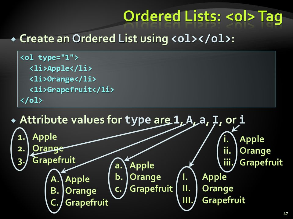 a.Apple b.Orange c.Grapefruit Create an Ordered List using : Create an Ordered List using : Attribute values for type are 1, A, a, I, or i Attribute v