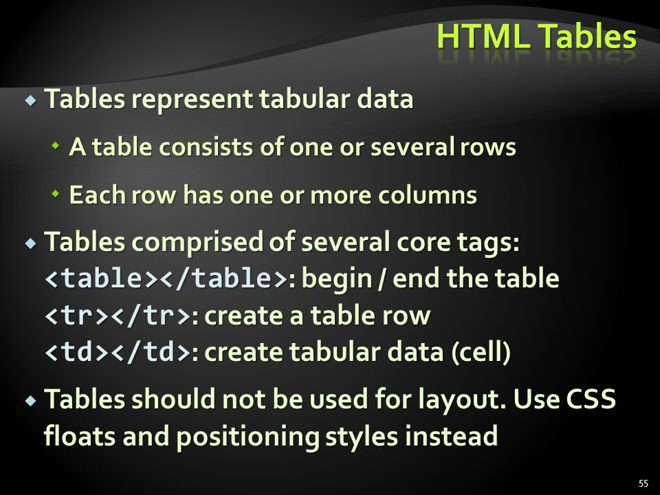 Tables represent tabular data Tables represent tabular data A table consists of one or several rows A table consists of one or several rows Each row h
