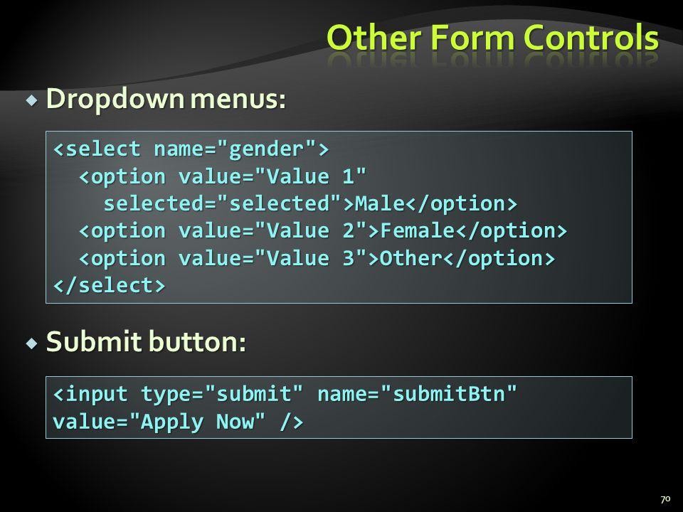 Dropdown menus: Dropdown menus: Submit button: Submit button: 70 <option value=