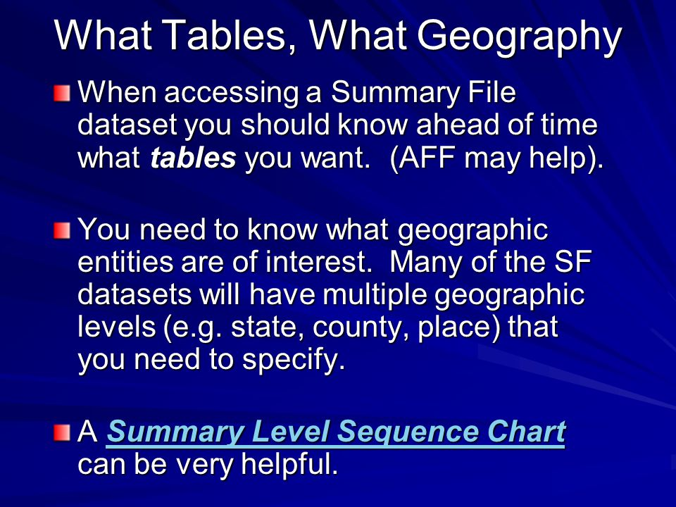 What Tables, What Geography When accessing a Summary File dataset you should know ahead of time what tables you want.