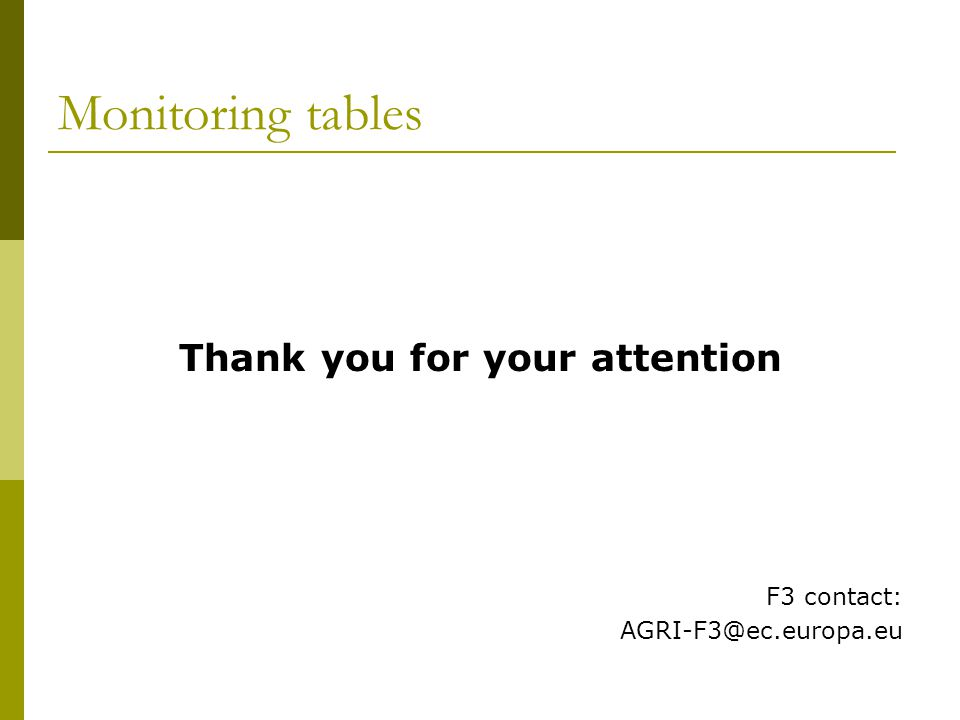 Monitoring tables Thank you for your attention F3 contact: AGRI-F3@ec.europa.eu