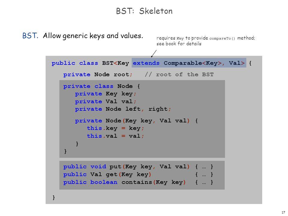 17 BST: Skeleton public class BST, Val> { private Node root; // root of the BST private class Node { private Key key; private Val val; private Node le