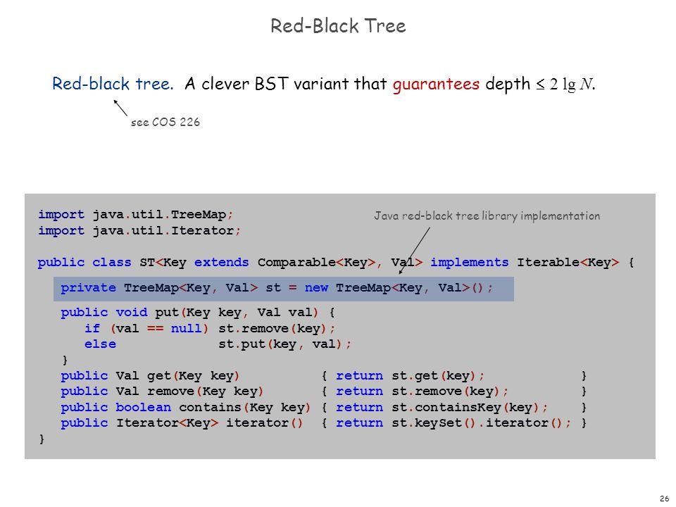 26 Red-Black Tree Red-black tree. A clever BST variant that guarantees depth 2 lg N. see COS 226 import java.util.TreeMap; import java.util.Iterator;