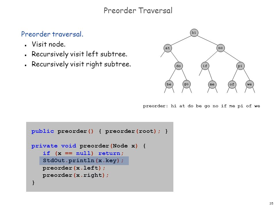 35 Preorder Traversal Preorder traversal. n Visit node. n Recursively visit left subtree. n Recursively visit right subtree. public preorder() { preor