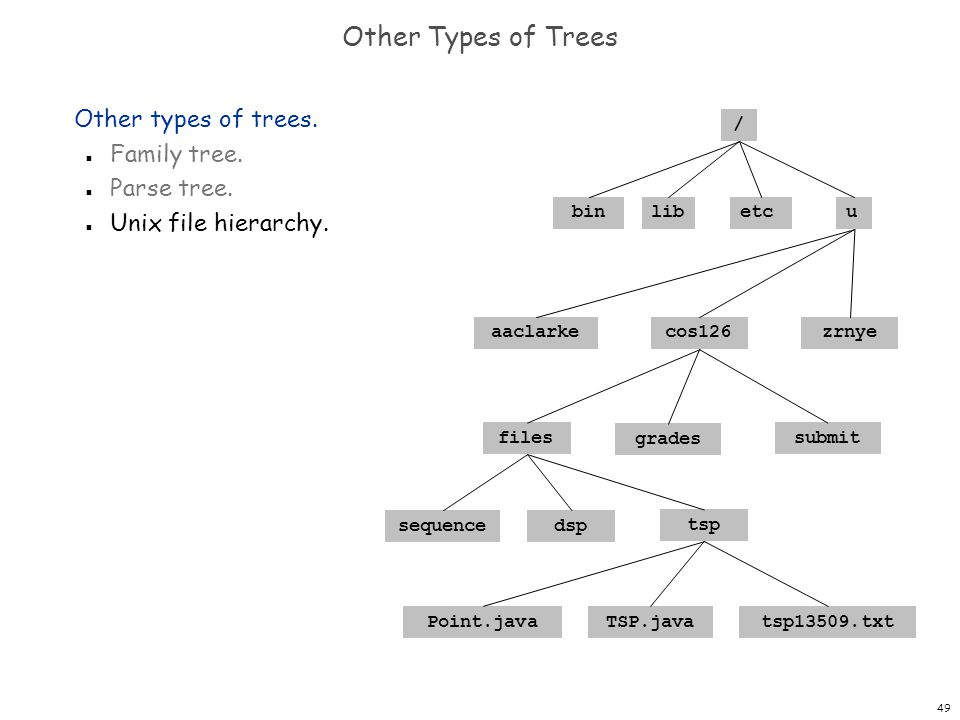 49 Other Types of Trees Other types of trees. n Family tree. n Parse tree. n Unix file hierarchy. / binlibuetc zrnyecos126 files sequencedsp Point.jav