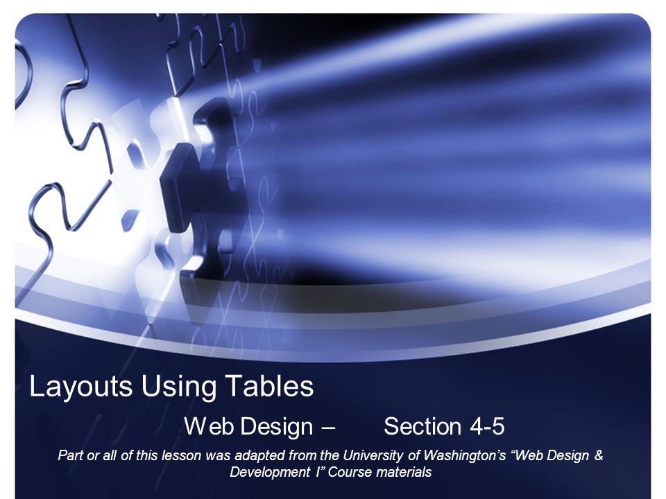 Objectives The Student will: –Understand how tables were used for layout prior to CSS –Be able to layout content using a table