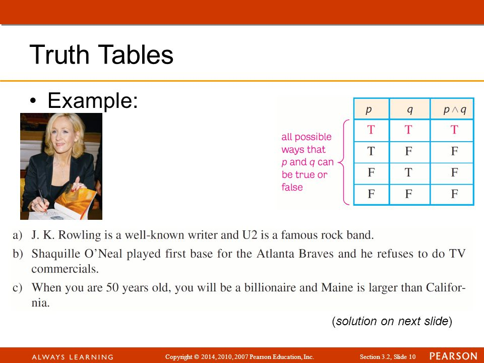 Copyright © 2014, 2010, 2007 Pearson Education, Inc.Section 3.2, Slide 10 Truth Tables Example: (solution on next slide)