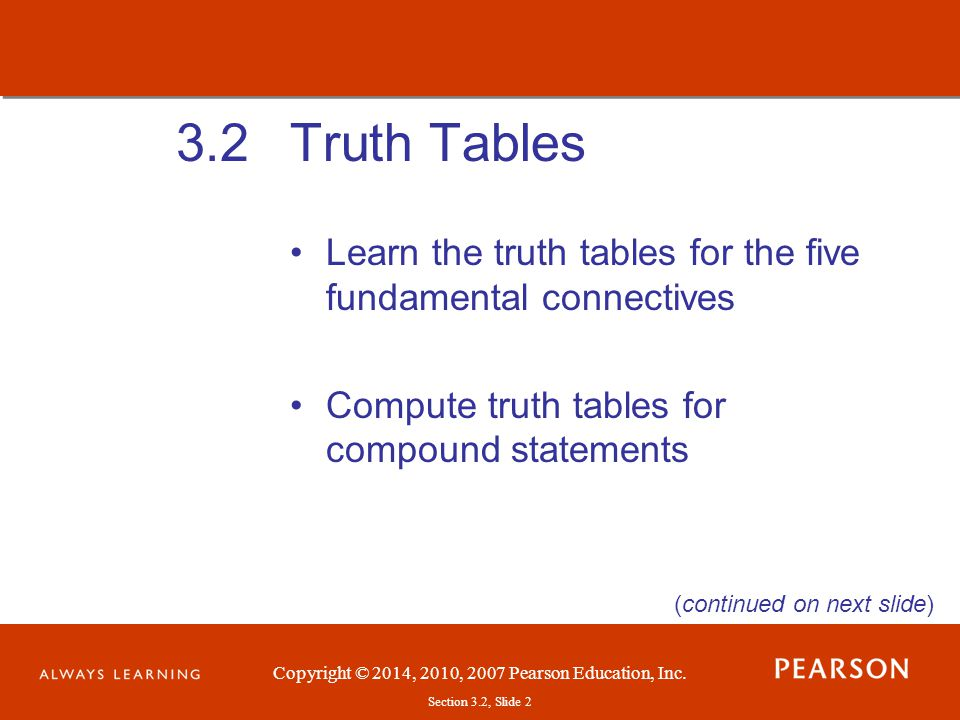 Copyright © 2014, 2010, 2007 Pearson Education, Inc.Section 3.2, Slide 13 Truth Tables Example: (solution on next slide)
