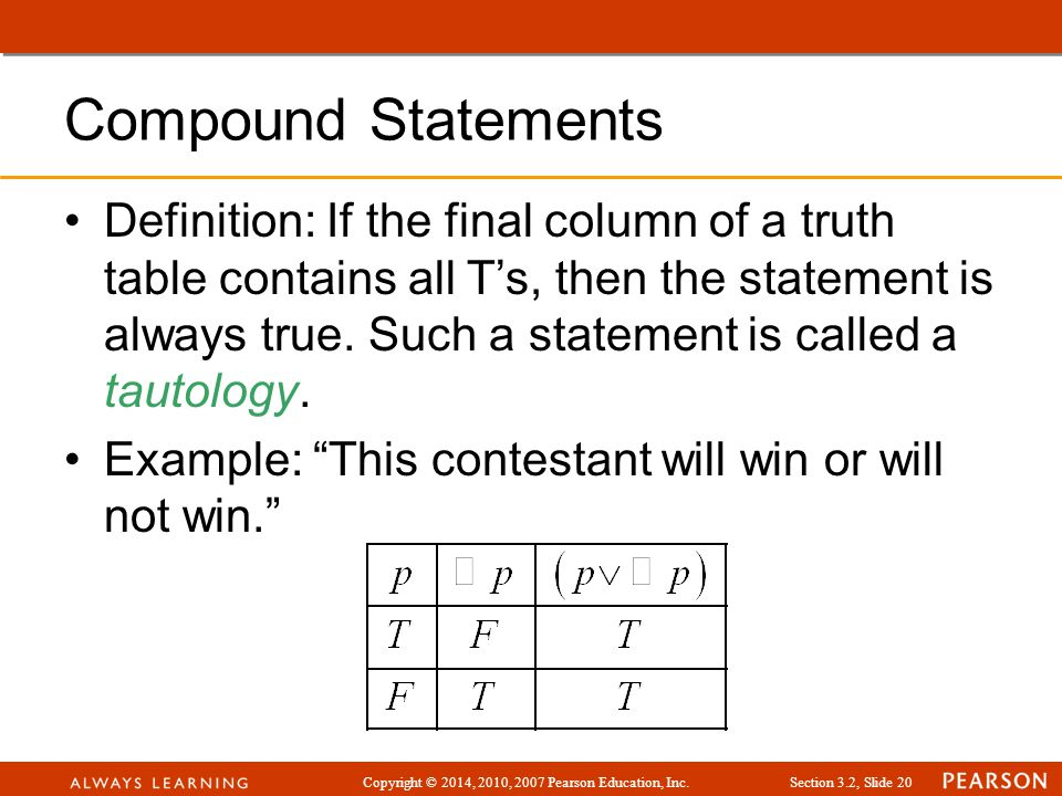 Copyright © 2014, 2010, 2007 Pearson Education, Inc.Section 3.2, Slide 20 Compound Statements Definition: If the final column of a truth table contain