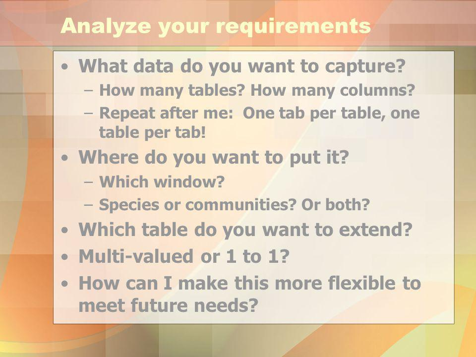 Analyze your requirements What data do you want to capture.