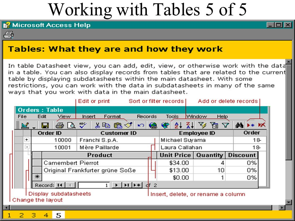Working with Tables 5 of 5