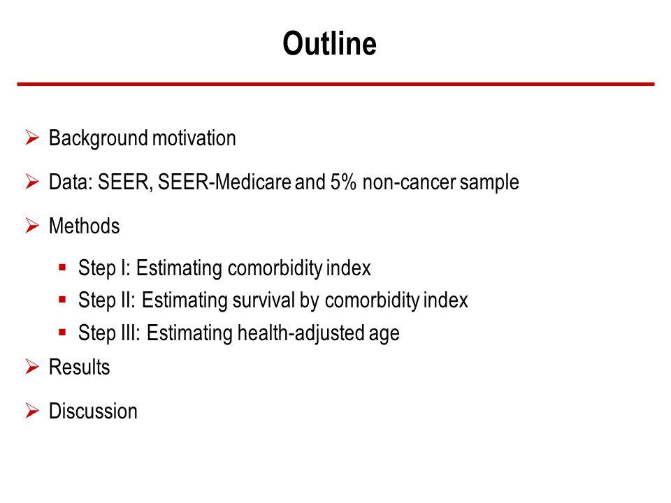 Outline Background motivation Data: SEER, SEER-Medicare and 5% non-cancer sample Methods Step I: Estimating comorbidity index Step II: Estimating survival by comorbidity index Step III: Estimating health-adjusted age Results Discussion