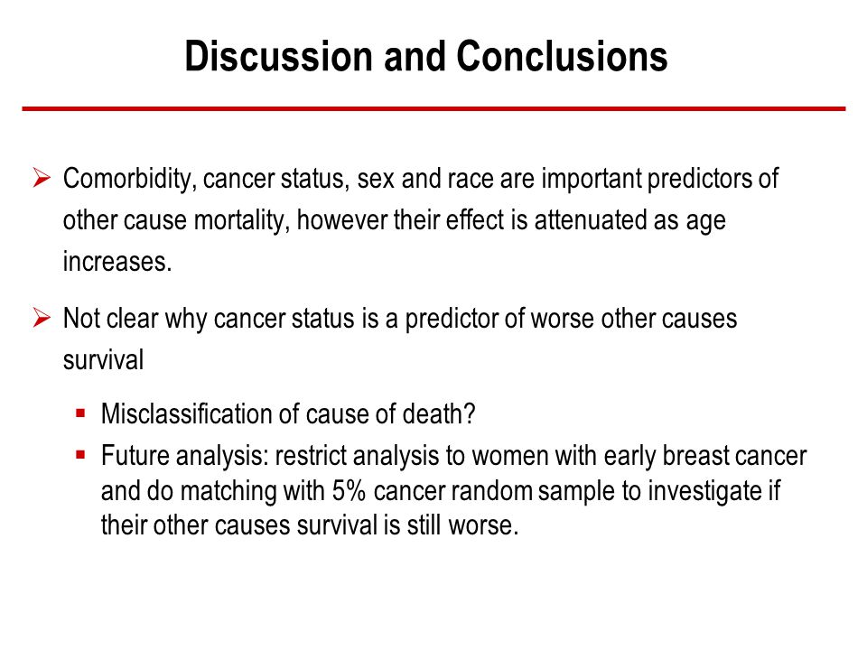 Discussion and Conclusions Comorbidity, cancer status, sex and race are important predictors of other cause mortality, however their effect is attenuated as age increases.