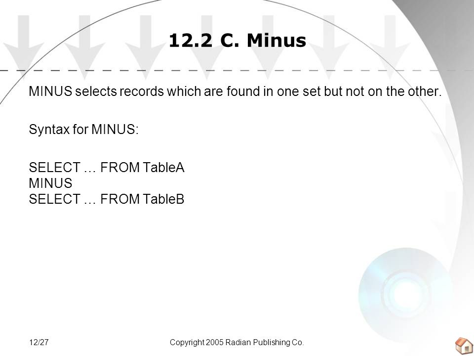 Copyright 2005 Radian Publishing Co.12/27 12.2 C. Minus MINUS selects records which are found in one set but not on the other. Syntax for MINUS: SELEC