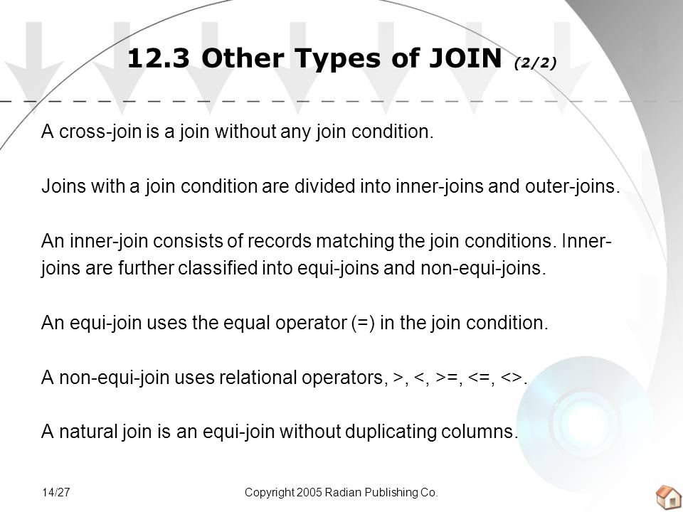 Copyright 2005 Radian Publishing Co.14/27 12.3 Other Types of JOIN (2/2) A cross-join is a join without any join condition.