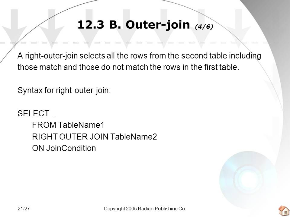 Copyright 2005 Radian Publishing Co.21/27 12.3 B. Outer-join (4/6) A right-outer-join selects all the rows from the second table including those match