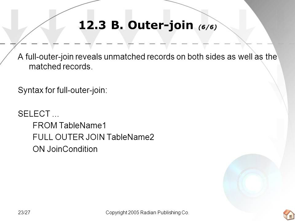 Copyright 2005 Radian Publishing Co.23/27 12.3 B. Outer-join (6/6) A full-outer-join reveals unmatched records on both sides as well as the matched re