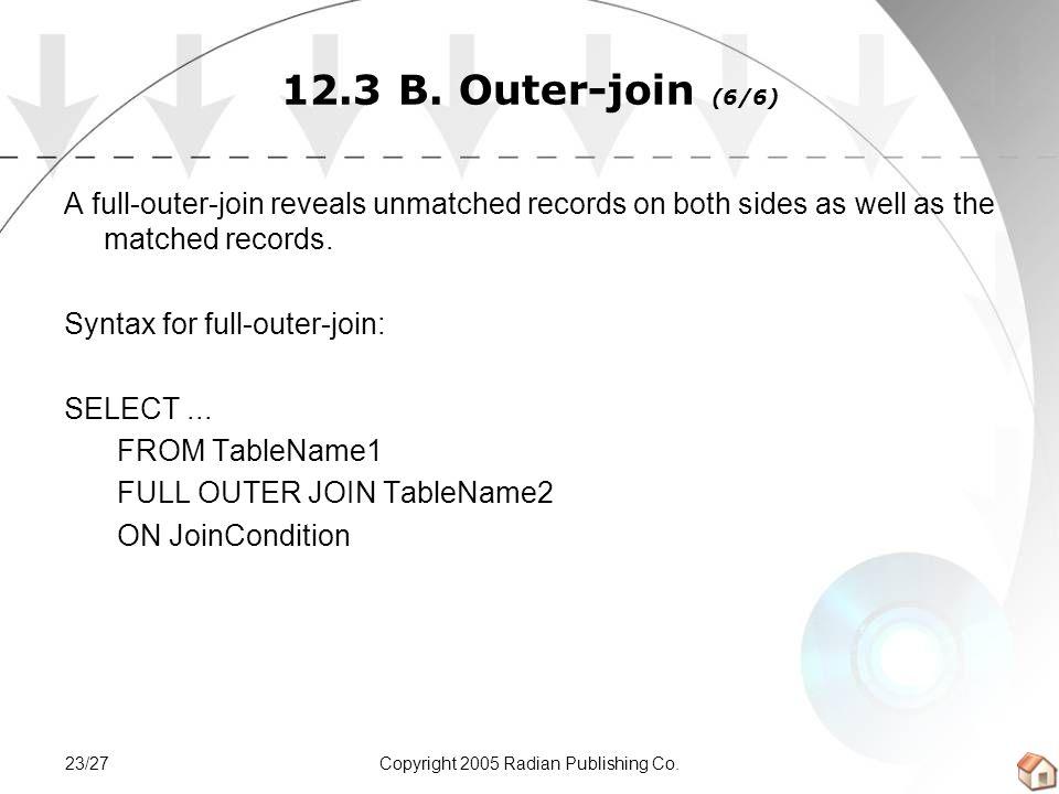 Copyright 2005 Radian Publishing Co.23/27 12.3 B.