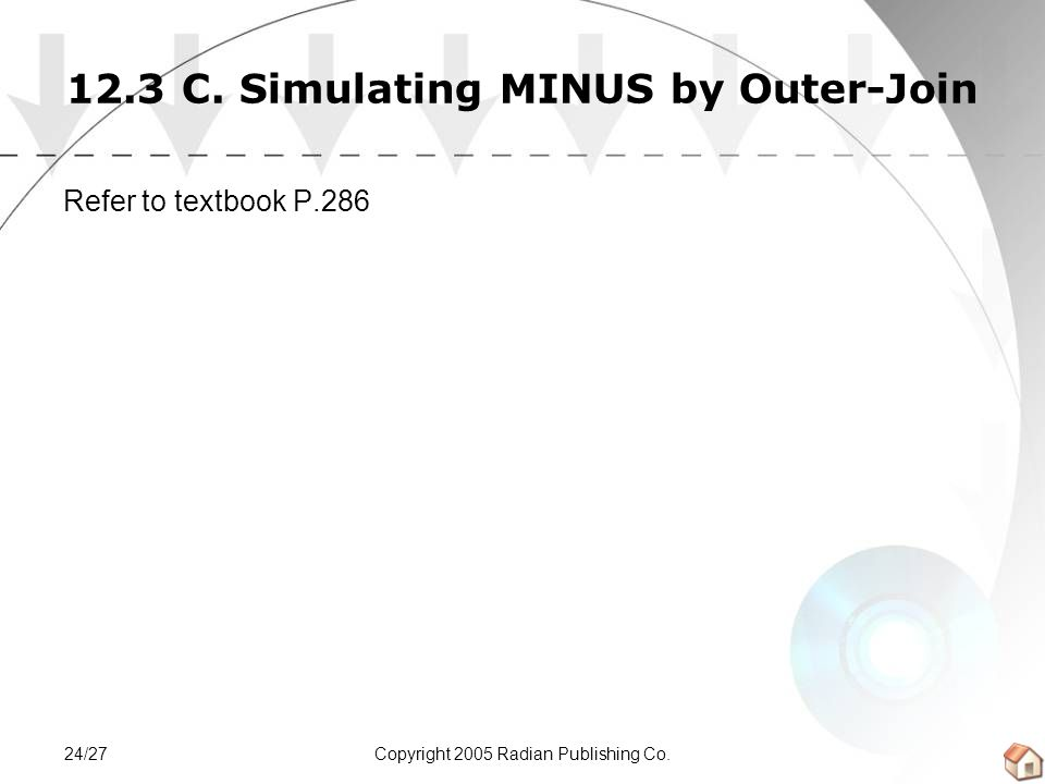 Copyright 2005 Radian Publishing Co.24/27 12.3 C. Simulating MINUS by Outer-Join Refer to textbook P.286