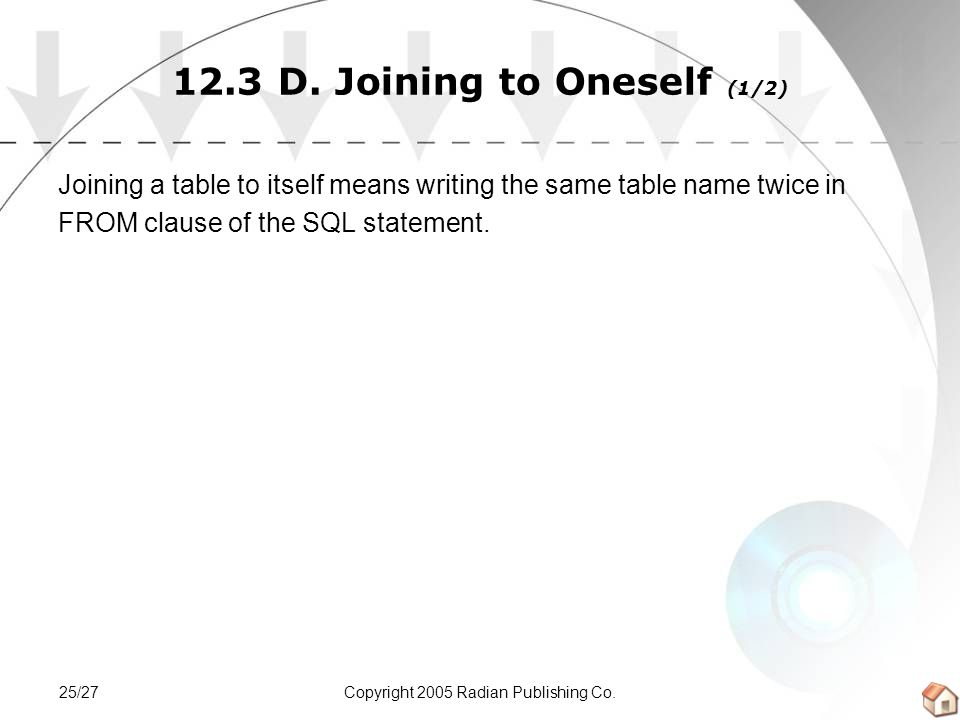 Copyright 2005 Radian Publishing Co.25/27 12.3 D. Joining to Oneself (1/2) Joining a table to itself means writing the same table name twice in FROM c