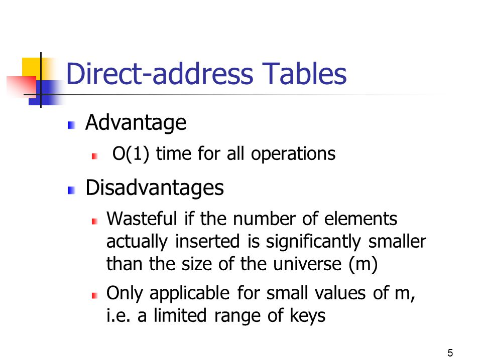 5 Advantage O(1) time for all operations Disadvantages Wasteful if the number of elements actually inserted is significantly smaller than the size of