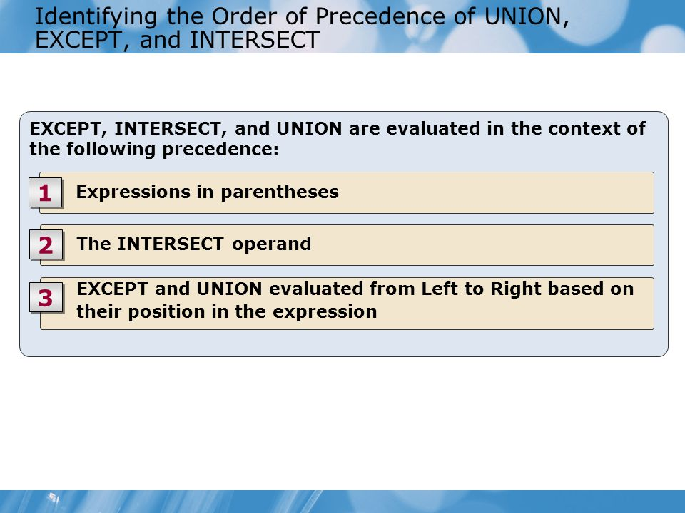 Identifying the Order of Precedence of UNION, EXCEPT, and INTERSECT EXCEPT, INTERSECT, and UNION are evaluated in the context of the following precedence: Expressions in parentheses 1 1 The INTERSECT operand 2 2 EXCEPT and UNION evaluated from Left to Right based on their position in the expression 3 3