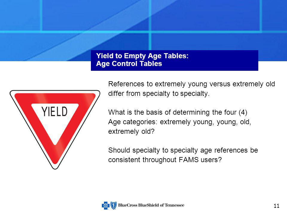 11 Yield to Empty Age Tables: Age Control Tables References to extremely young versus extremely old differ from specialty to specialty. What is the ba