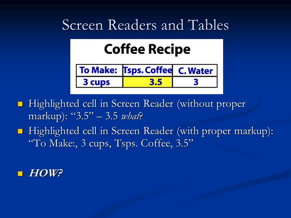 Screen Readers and Tables Highlighted cell in Screen Reader (without proper markup): 3.5 – 3.5 what.