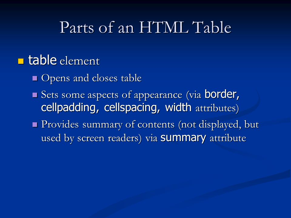 Parts of an HTML Table table element table element Opens and closes table Opens and closes table Sets some aspects of appearance (via border, cellpadding, cellspacing, width attributes) Sets some aspects of appearance (via border, cellpadding, cellspacing, width attributes) Provides summary of contents (not displayed, but used by screen readers) via summary attribute Provides summary of contents (not displayed, but used by screen readers) via summary attribute