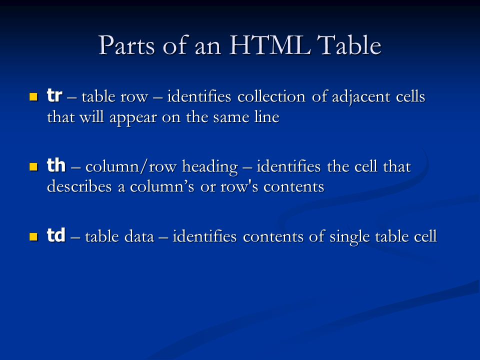Parts of an HTML Table tr – table row – identifies collection of adjacent cells that will appear on the same line tr – table row – identifies collection of adjacent cells that will appear on the same line th – column/row heading – identifies the cell that describes a columns or row s contents th – column/row heading – identifies the cell that describes a columns or row s contents td – table data – identifies contents of single table cell td – table data – identifies contents of single table cell