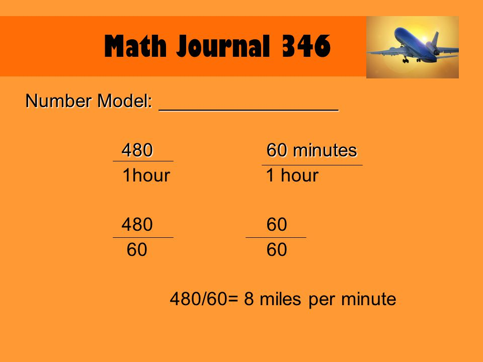 Explain it: Because there are 60 minutes in an hour, divide 480 by 60.