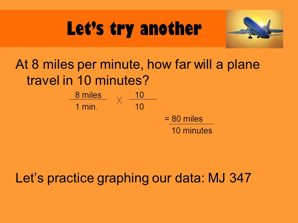 Lets try another At 8 miles per minute, how far will a plane travel in 10 minutes.