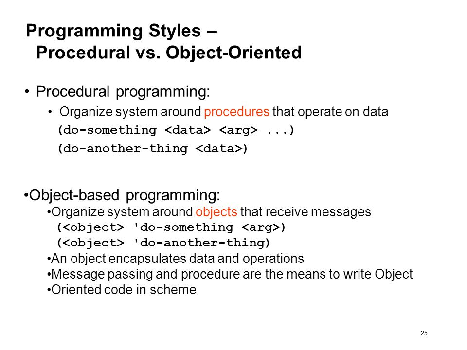 25 Programming Styles – Procedural vs.
