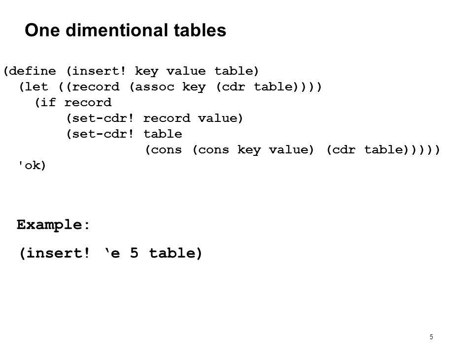 26 Tables in OO style (define (make-table) (let ((local-table (list *table*))) (define (lookup key-1 key-2)...