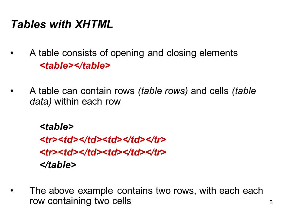 6 Tables with XHTML A table consists of opening and closing elements The cells in the first row in the table are often referred to as the table header cells, using the header tags (instead of ) will make any text inside these rows appear bold Within the table tags you have table rows and within each row you have table cells, also known as table data or columns, you can have multiple table cells as well as multiple rows in your table