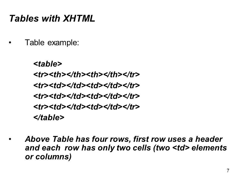 7 Tables with XHTML Table example: Above Table has four rows, first row uses a header and each row has only two cells (two elements or columns)