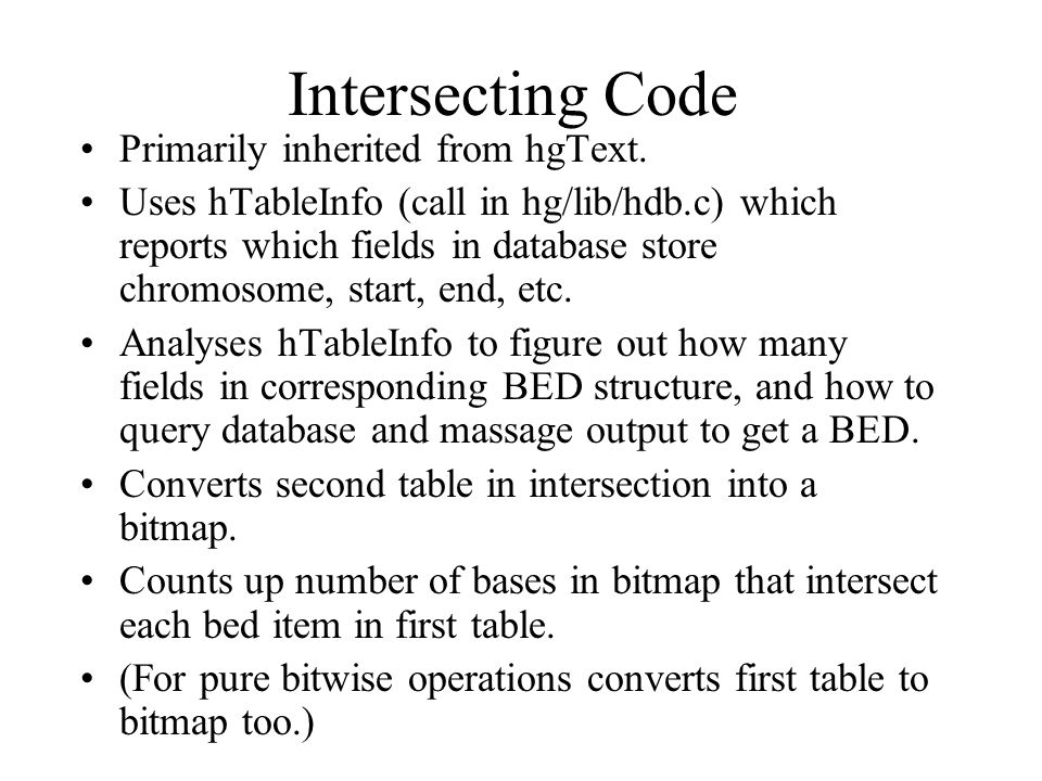 Intersecting Code Primarily inherited from hgText.