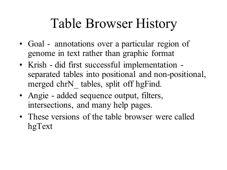 Why a New Table Browser hgText is powerful, but much of the power is not obvious in the first page.