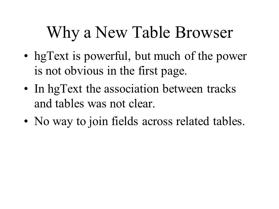 New Table Browser Flip to demoing new table browser online.