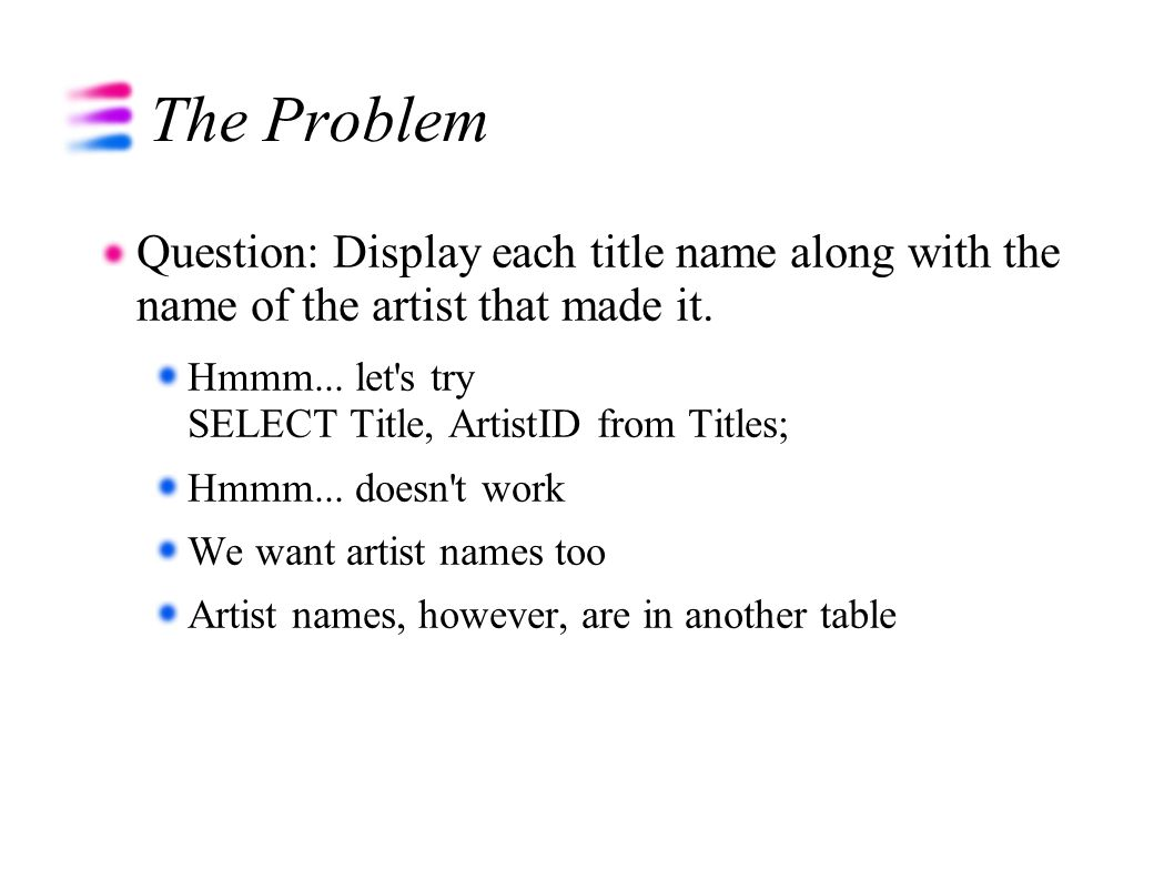 The Problem Question: Display each title name along with the name of the artist that made it.