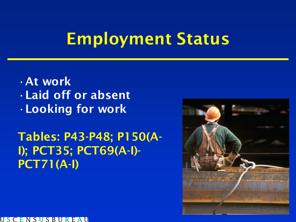 Employment Status At work Laid off or absent Looking for work Tables: P43-P48; P150(A- I); PCT35; PCT69(A-I)- PCT71(A-I)
