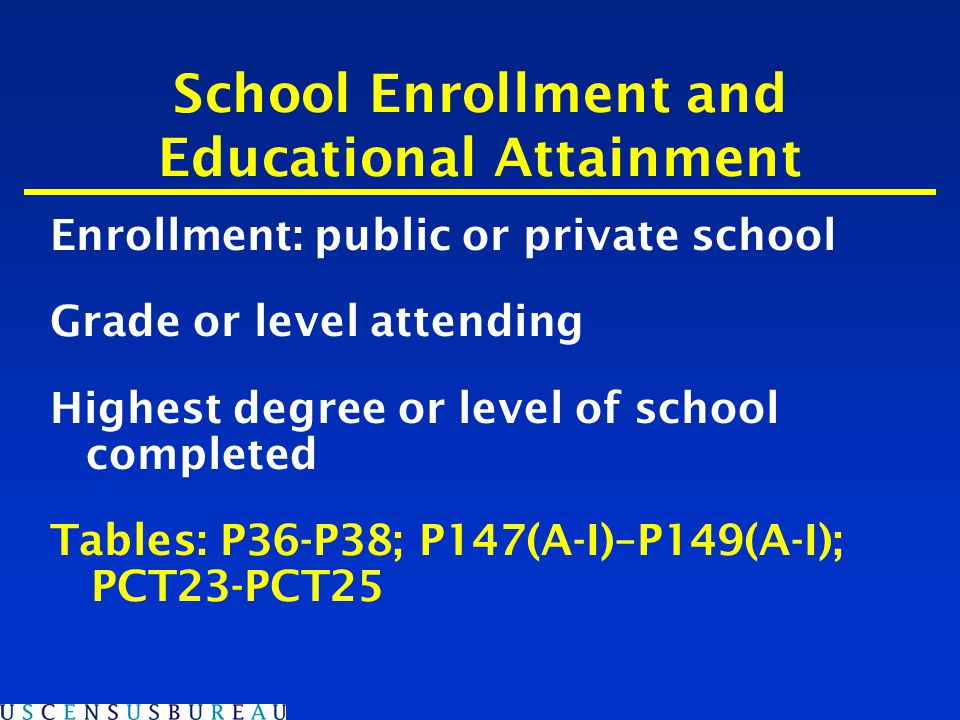 School Enrollment and Educational Attainment Enrollment: public or private school Grade or level attending Highest degree or level of school completed Tables: P36-P38; P147(A-I)–P149(A-I); PCT23-PCT25