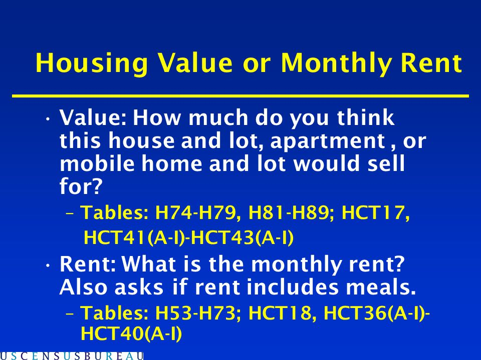 Housing Value or Monthly Rent Value: How much do you think this house and lot, apartment, or mobile home and lot would sell for.
