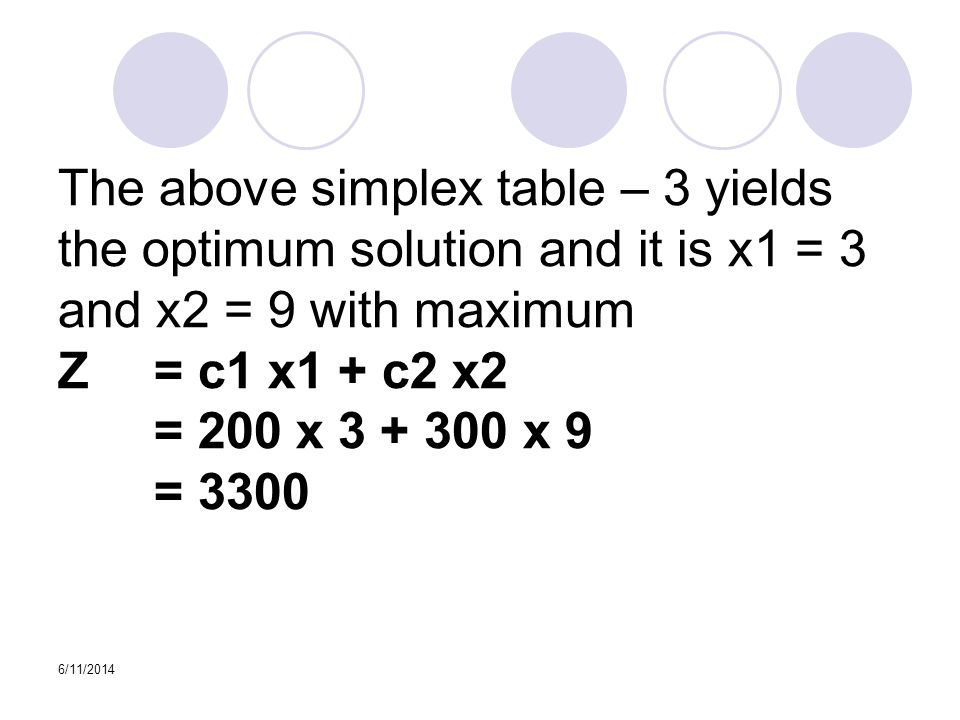 6/11/2014 The above simplex table – 3 yields the optimum solution and it is x1 = 3 and x2 = 9 with maximum Z = c1 x­1 + c2 x2 = 200 x 3 + 300 x 9 = 3300