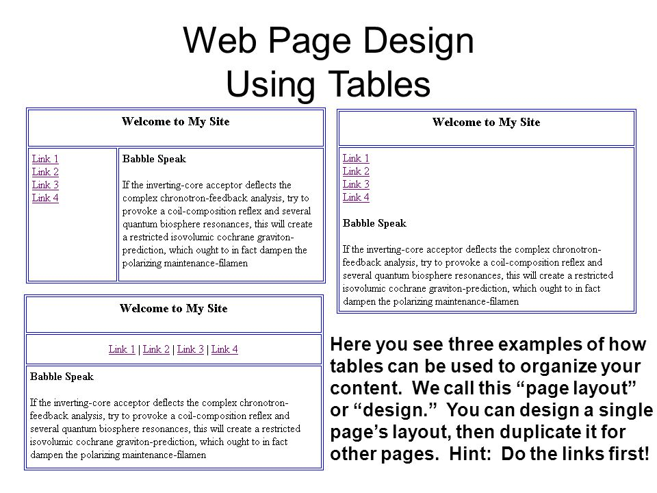 Web Page Design Using Tables Here you see three examples of how tables can be used to organize your content.