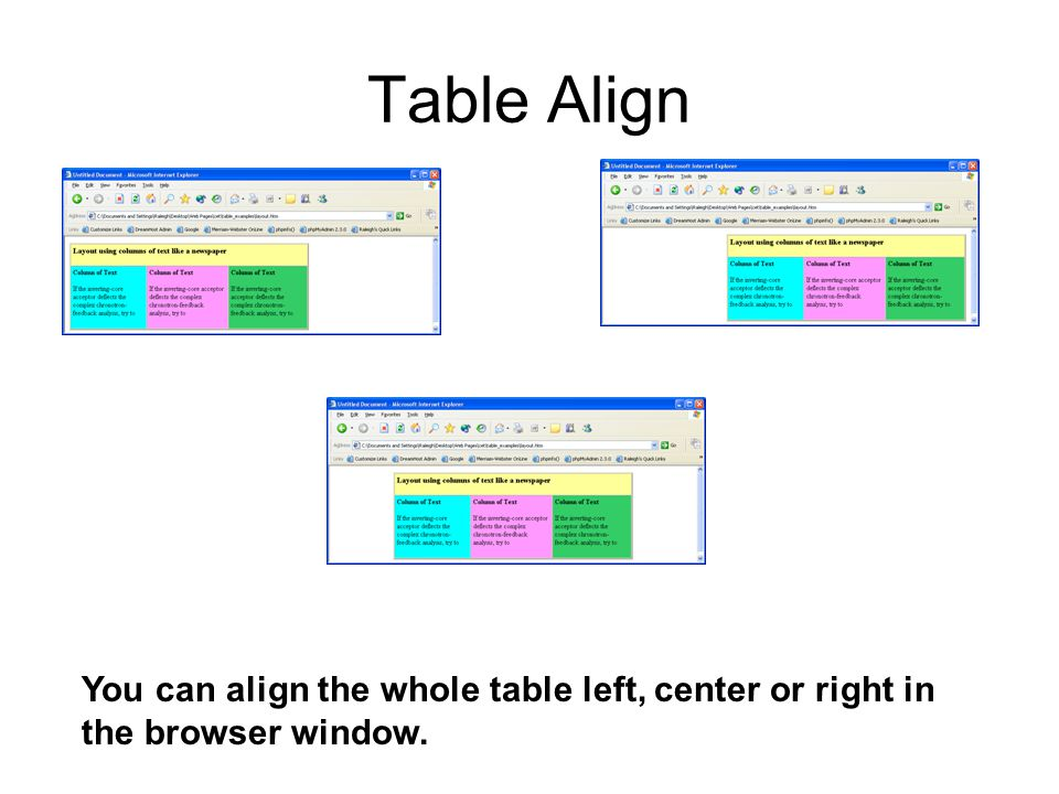Table Align You can align the whole table left, center or right in the browser window.