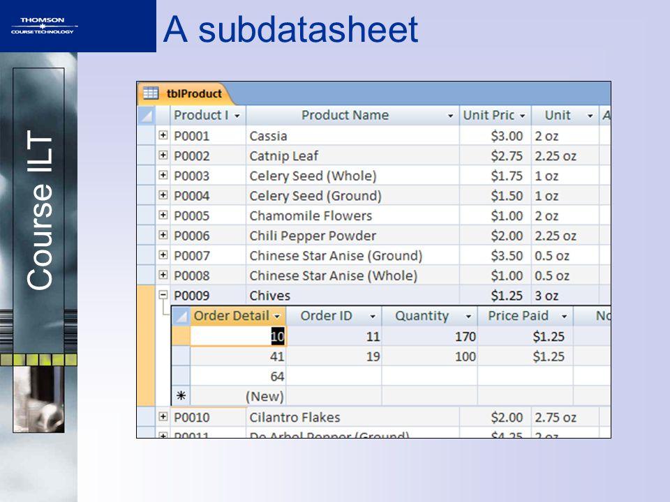 Course ILT A subdatasheet