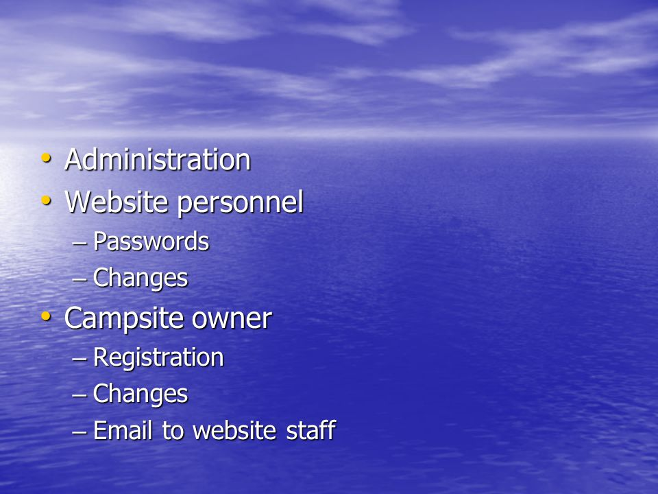 Administration Administration Website personnel Website personnel – Passwords – Changes Campsite owner Campsite owner – Registration – Changes – Email