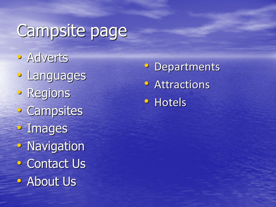 Campsite page Adverts Adverts Languages Languages Regions Regions Campsites Campsites Images Images Navigation Navigation Contact Us Contact Us About