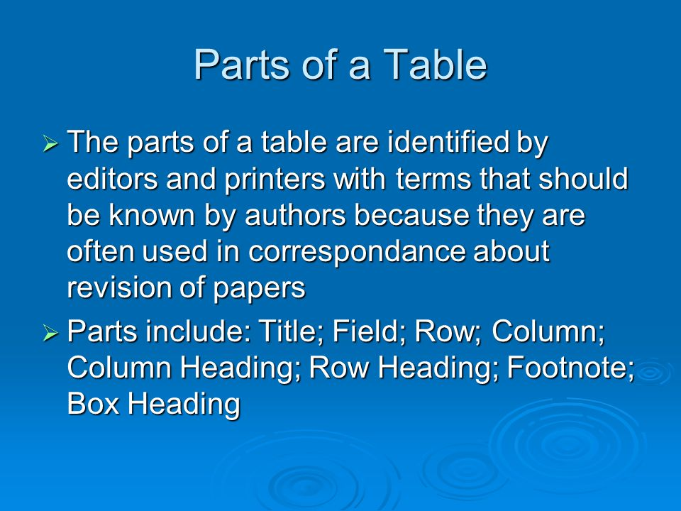 Parts of a Table The parts of a table are identified by editors and printers with terms that should be known by authors because they are often used in correspondance about revision of papers The parts of a table are identified by editors and printers with terms that should be known by authors because they are often used in correspondance about revision of papers Parts include: Title; Field; Row; Column; Column Heading; Row Heading; Footnote; Box Heading Parts include: Title; Field; Row; Column; Column Heading; Row Heading; Footnote; Box Heading
